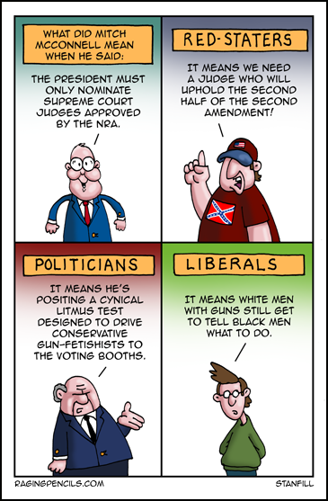 The progressive web comic about Mitch McConnell and NRA approved Supreme Court judges.