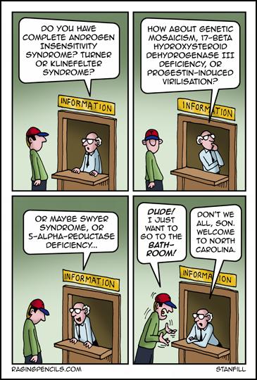 The progressive web comic about the stupi North Carolina bathrooms laws.