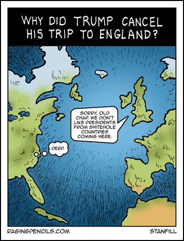 The progressive web comic about trump being rejected by England.
