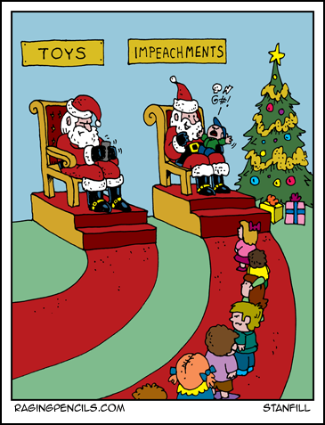 Progressive comic about kids asking Santa for impeachment