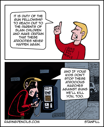 The progressive web comic about death threats to families of gun victims.