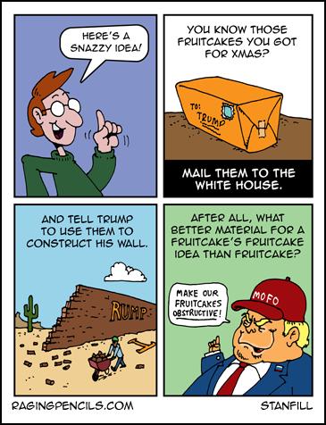 Progressive comic about fruitcake wall idea.