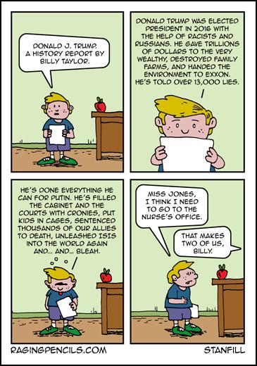 Progressive comic about a Trump book report.