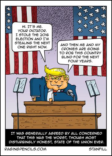 Progressive comic about Trump's 2020 State of the Union.