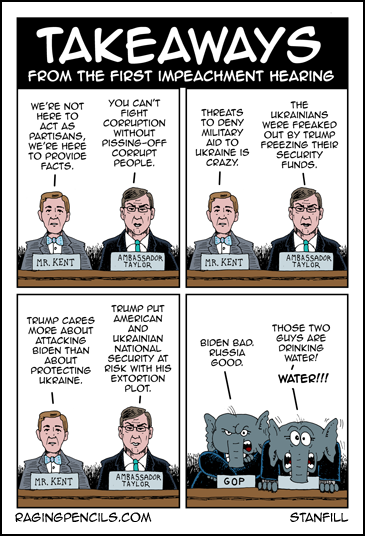 Progressive comic about the first Trump impeachment hearing