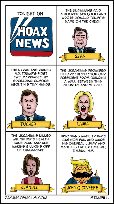Progressive comic about how Fox News blames the Ukraine for all of Trump's crimes.