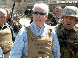 McCain with bulletproof vest.