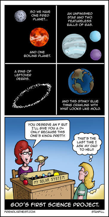 The comic about young God's first science project.