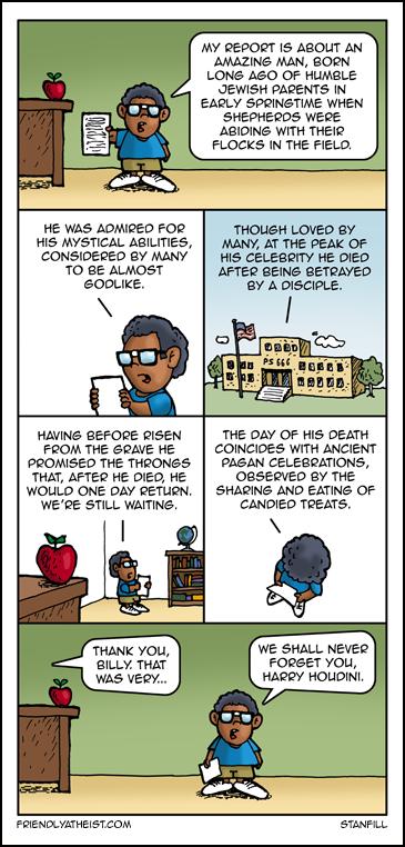 Comic comparing Jesus and Houdini