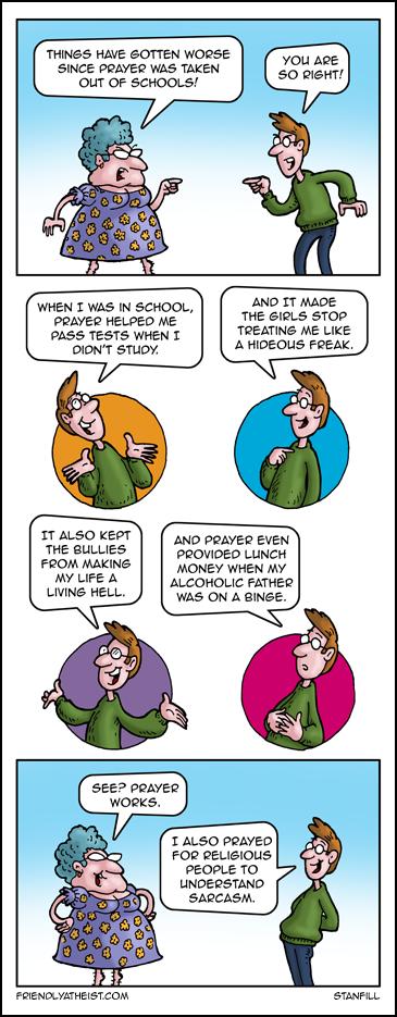 The progressive cartoon about prayer in school